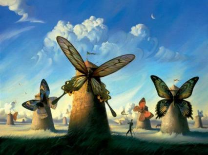 mulini a vento e farfalle